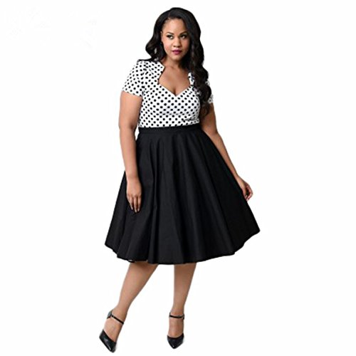 Lonely hero 50er Retro Audrey Hepburn Schwingen Pinup Polka Dots Rockabilly Damen Vintage-Kleid Plus Size
