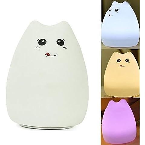 Mystery silicona portátil de color cambiante lindo de la Nursery noche Multi Color LED USB recargables Childrens luz de la noche blanco cálido 7 Color La respiración de doble modos de luz, Tap Control sensible para adultos bebé Dormitorio (B)