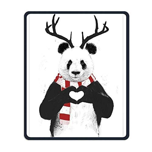Mouse Pad Rectangle Rubber Non-Slip Mousepad Panda Deer Wear Red Scarf Print Gaming Mouse Pad Multi Print Scarf