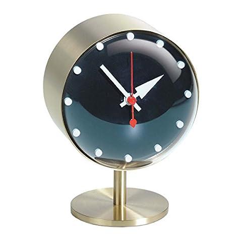 Vitra 215 021 01 Night Horloge en laiton et verre acrylique Doré/Noir 15 x 10,5 x 10 cm