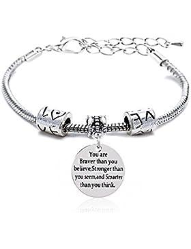verstellbar Armreif Sie mutiger stärker Schlauer als Sie Think Armband Familie Freund Geschenk für Damen Herren