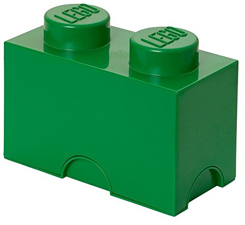 LEGO Aufbewahrungsstein, 2 Noppen, Stapelbare Aufbewahrungsbox, 2,6 l, grün
