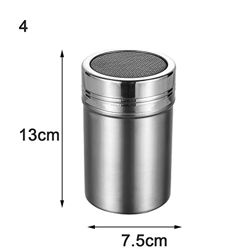 Salt Sifter, Condiment Container, Cocoa Chocolate Spice Tank, Baking Flour Kitchen Tools Stainless Steel(7.5cm*13cm)
