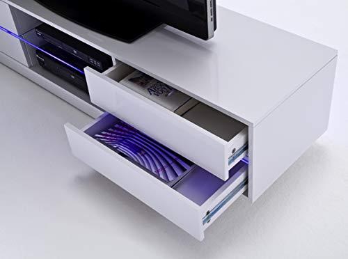 Robas Lund 59075W14 Blues Media TV-Lowboard, Klarglasboden, RGB LED Wechselbeleuchtung mit Fernbedienung, MDF Hochglanz weiß lackiert - 7