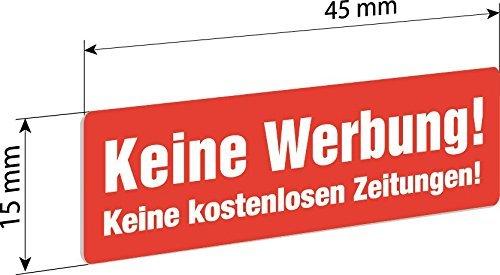 6 Keine Werbung Einleger 45x15mm z.B. für Knobloch Briefkastenanlage - Gegen Briefkasten-Werbung
