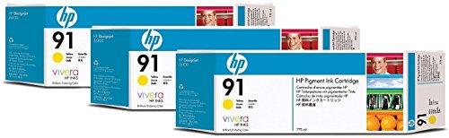 HP 91 3er-Pack Gelb Tintenpatronen, 775 ml -