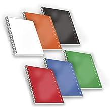 Pigna 02155585M, Conf. 5 pz. Quaderno Maxi Spiralato A4 senza Fori/Microperforazione, Rigatura 5M, quadretti 5 mm, Carta 80g/mq.