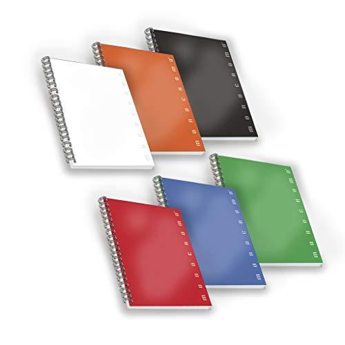 Pigna 02155581r , conf. 5 pz. quaderno maxi spiralato a4 senza fori e microperforazione , rigatura 1r , carta 80g/mq.