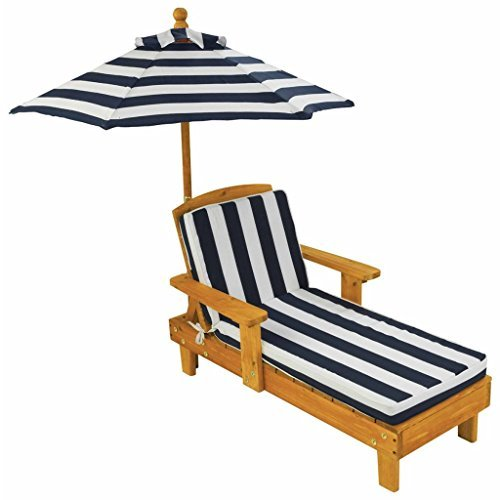 KidKraft 105 Wooden Lounge Chaise with Umbrella Outdoor Garden Furniture for Children Kids