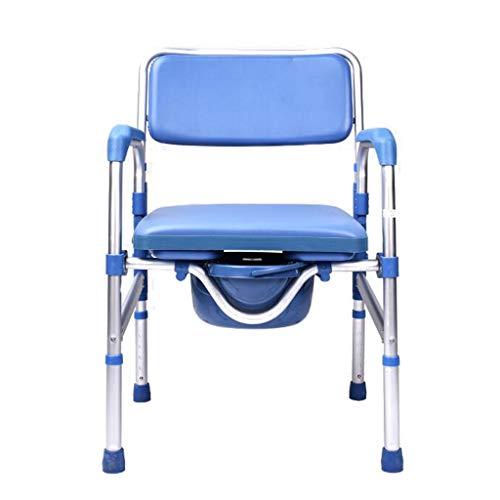 KPL-Kommode Korpulenz-Nachtkommode-Stuhl Deluxe Falten Bad WC-Sitz mit gepolstertem Kissen Eimer/Deckel Höhenverstellbar für Senioren, Behinderte -
