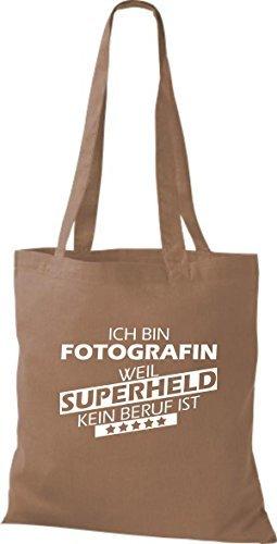 shirtstown Borsa di stoffa SONO Fotografin, WEIL supereroe NESSUN lavoro è Marrone chiaro