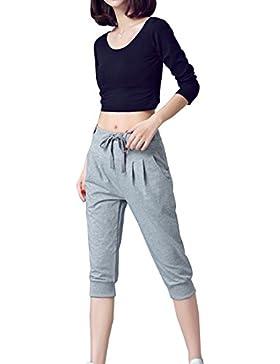 Mujer Anchos Casuales Sport Jogging Pantalones De Yoga Capri Pantalon Harem Tallas Grandes Gris 3XL