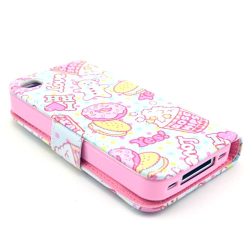 MOONCASE iPhone 4 Case Motif Conception Coque en Cuir Portefeuille Housse de Protection Étui à rabat Case pour iPhone 4 4S P20