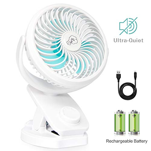 IREENUO Mini Ventilator Clip Lüfter 4400mAh Batterie Betrieben USB Tisch Lüfter Tragbar Personal Lüfter Kleiner leiser Lüfter fürs Büro, Zu Hause,Reise,Camping,Kinderwagen(Weiß)