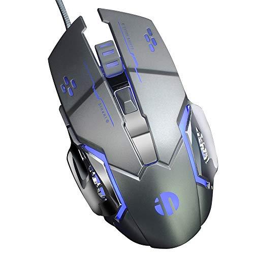 inphic Gaming Maus, USB Wired Optische Gaming Mäuse mit LED Optisch, 4 DPI Adjustment Levels, 6 Tasten für Laptop, PC, Mac (Metall grau)