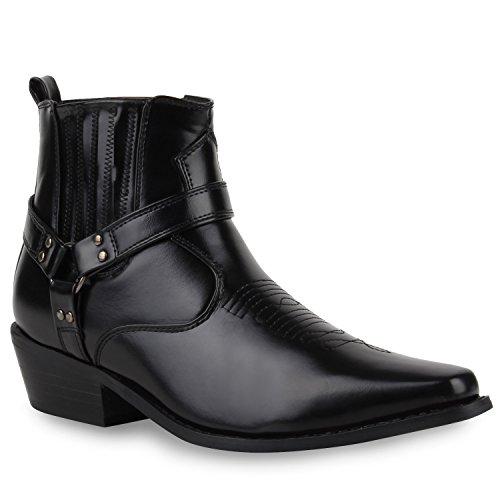 Herren Retro Cowboy Boots Lederoptik Lange Schuhspitze Nieten Schwarz