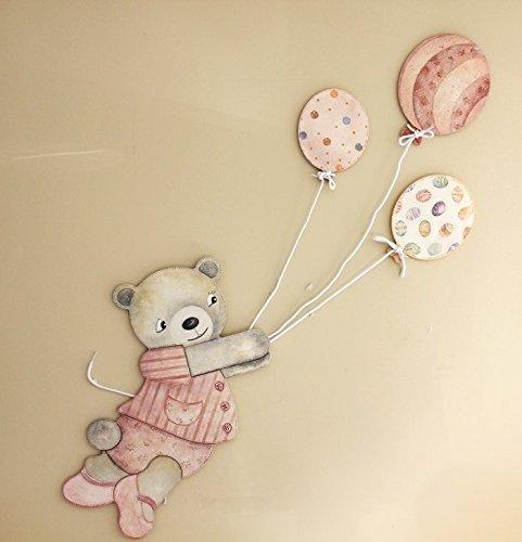 Silueta oso tamaño grande con globos, para decoración de pared, en DM para pintar