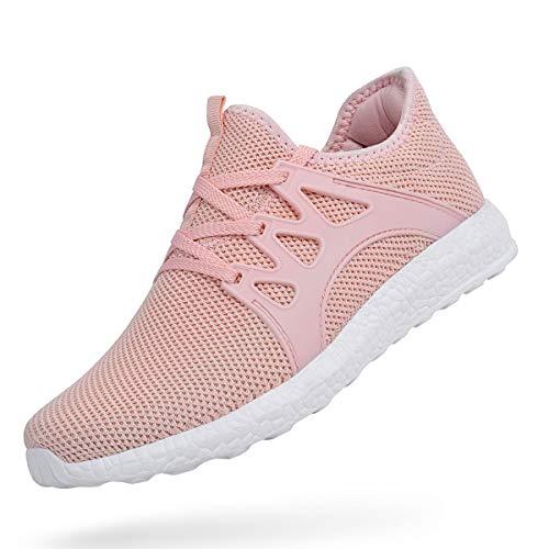 ZOCAVIA Herren Damen Sneaker Running Laufschuhe Sportschuhe Rutschfeste Sneaker Rosa 39 EU