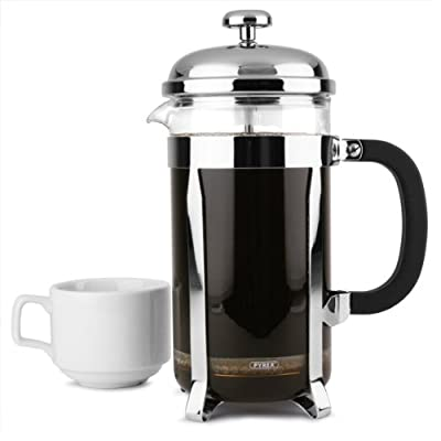 Chrome Cafetiere 8 Cup | 32oz 1000ml Coffee Cafetiere, Coffee Maker, Coffee Pot, Large Cafetiere for Domestic & Commercial Catering