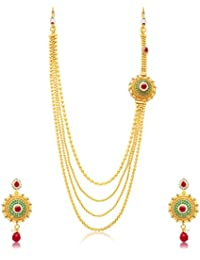 [Sponsored Products]Sukkhi Beguiling 4 String Gold Plated Long Haram Necklace Set For Women