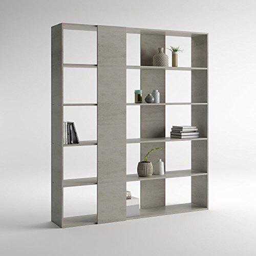 Mobilifiver libreria rachele, cemento, 178 x 36 x 204 cm, nobilitato, made in italy, disponibile in vari colori