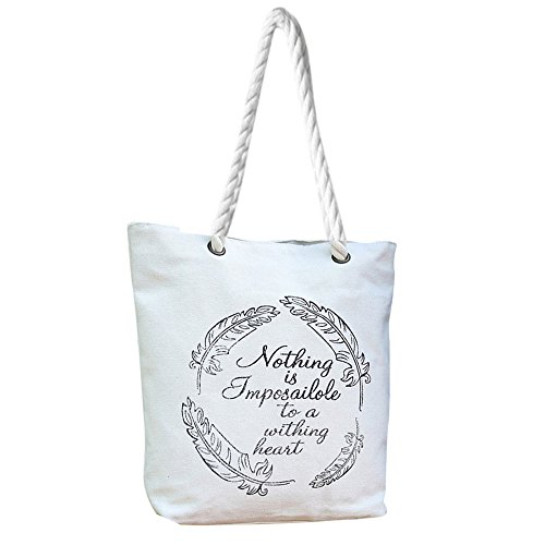 Longra Sacchetto di spalla della borsa della tela di canapa di stile delle donne Mori Bianco_H