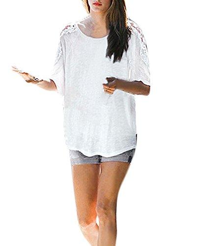 Shirt Damen Rundkragen Fledermausärmel Kurzarm Stitching Spitze Locker Sommer Elegant T-Shirt Pulli Oversize Weiß