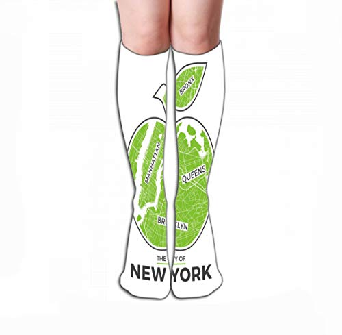 Calze alte Compression Socks for Women & Men - Best for Running, Athletic Sports, Crossfit, Flight Travel 19.7'(50cm) new york big apple graphic design city map print typography label badge emblem