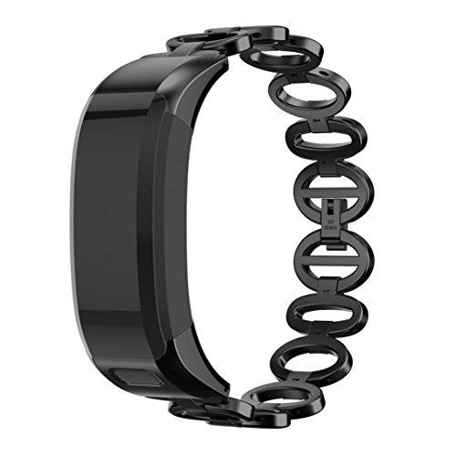 IGEMY Armband Zubehör für Garmin VIVOsmart HR, Luxus Edelstahlarmband und Gehäuse (Schwarz) (Michael Kors Swarovski Uhr)