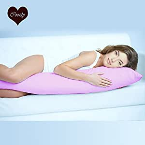 Coozly Lumbar Body Pillow | Arm Curl Pillow | Back Support Pillow | Pregnancy Pillow with Cover (Pink) L4