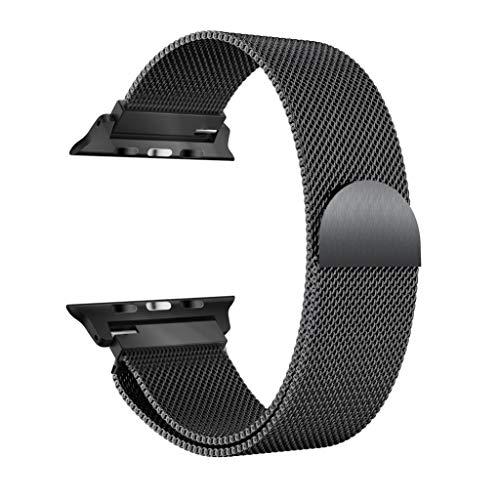 JiaMeng Banda de Reloj magnética milanesa de Acero Inoxidable para Apple Watch Series 4 40MM / 44MM (44MM, Negro)