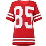 OOPS OUTLET DAMEN TOP 85 PRINT AMERICAN FOOTBALL COLLEGE JERSEY T-SHIRT-ROT