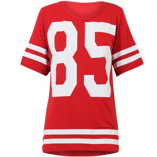 OOPS OUTLET DAMEN TOP 85 PRINT AMERICAN FOOTBALL COLLEGE JERSEY T-SHIRT-ROT (Football Tops American)