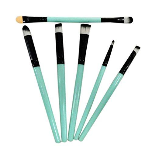 Toamen Pinceau de Maquillage Brosse à Paupières Maquillage pour les Lèvres Garniture Brosse Cosmétique Beauté 6 Pcs Vert