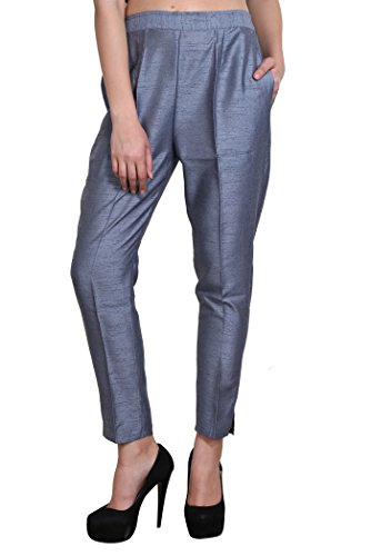 Shararat Stylish Designer Cotton Silk Grey Pants Trousers With Narrow Bottom For Girls / Ladies / Womens