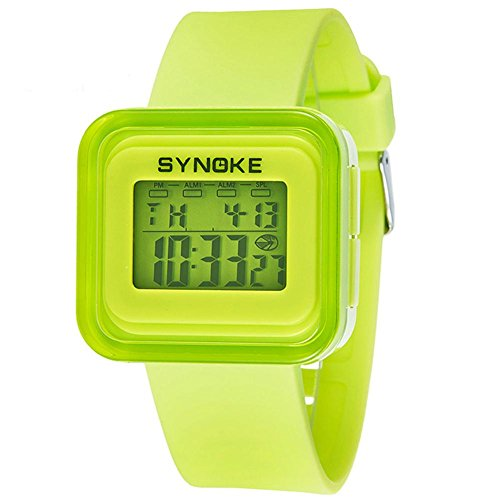 (Kinderuhren Kinder LED Digitaluhr Mädchen Jungen Uhr Kinder Sport Armbanduhr Digitaluhr für Girl Boy Surprise Geschenk , green)