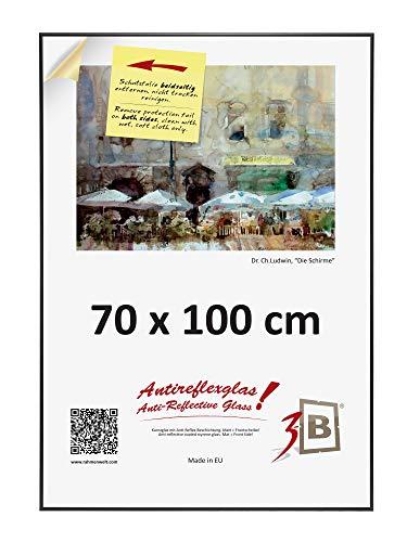 3-B Alu Poster Brushed - Großer Bilderrahmen - mit Antireflex Polyesterglas und Einzelverpackung - Schwarz matt - 70x100 cm (Format B1) (Große Kunststoff-bilderrahmen)