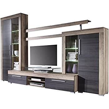 This Item Furnline Boom Walnut Satin And Dark Brown Touchwood TV Stand Wall Unit Living Room Furniture Set Light Oak