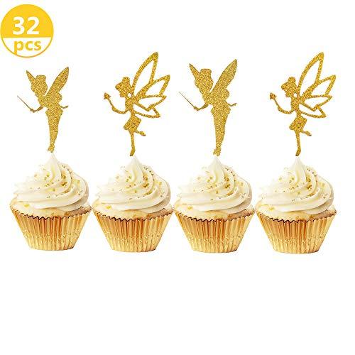 JeVenis Cupcake-Topper mit Glitzer, für Geburtstag, Brautparty, Babyparty, Hochzeit, Dekoration, 32 Stück (Vorspeisen Bridal Shower)