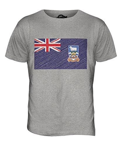 CandyMix Falklandinseln Kritzelte Flagge Herren T Shirt Grau Meliert