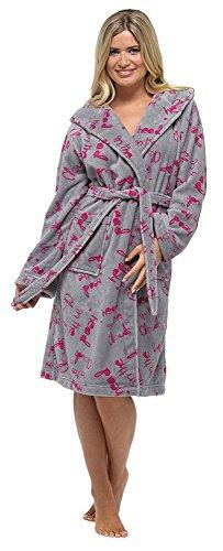 Frauen Damen Nachtwäsche Nachtwäsche Katze & Cloud drucken Langarm Fleece Bademantel, verschiedene Farben & Größen Grey
