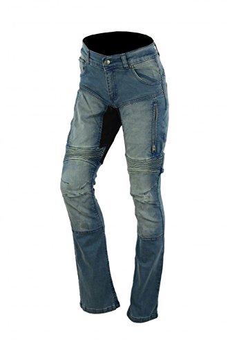 Damen Kevlar Motorradjeans Motorradhose Denim Jeans Hose mit Protektoren blau, Bundweite:34W;Schritlänge:31L