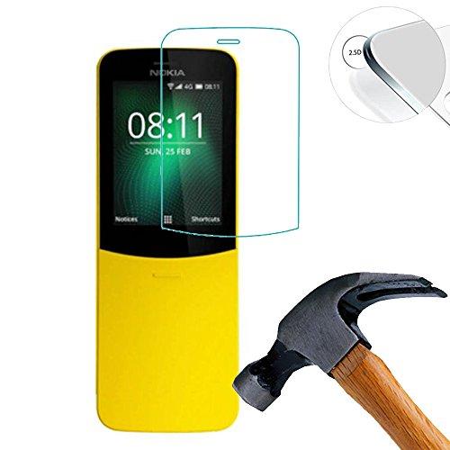 Lusee 2 x Pack vetro Temperato per Nokia 8110 4G 2.4 Pollice Protezione Schermo Pellicola Protettivo Salvaschermo 9H (Coprire solo la parte piatta)