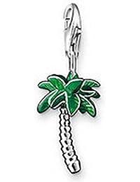 [PENAR116] Pendentif charm plaqué argent 925/1000 palmier arbre soleil vacances