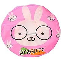 CTGVH - Gorro de ducha de plástico, elástico, diseño de animales, impermeable, para el cuidado del maquillaje, para mujeres y niñas (patrón de conejo)