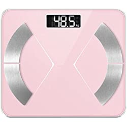 Inteligente Bluetooth Body Fat Scale Digital Body Composition Analyser 180Kg/400Lb/28St Digital Weighing Scale Soporte Bluetooth APP,Pink
