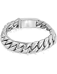 Bling Jewelry 12mm Stainless Steel Large Cuban Curb Chain Unisex Bracelet 8in