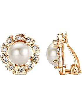 Yoursfs Groß Perlen Ohrclips mit 18K Weißegold Überzogene Elegante Blumen Valentinstage Geschenk für Damen Frauen...