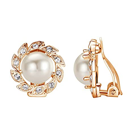 Yoursfs White Pearl Clip On Earrings for Women Rose Gold Plated Vintage Flower and Rhinestone Diamante Earrings Cuff Womens Wedding Statement Costume Jewellery Mother's Gift