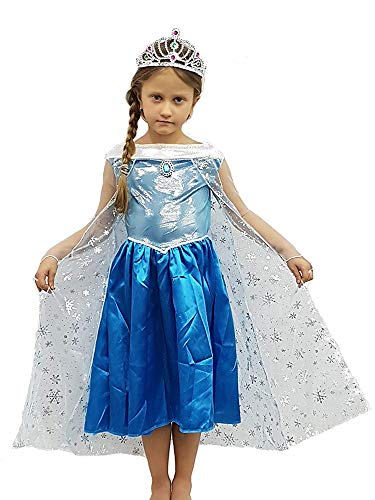PICCOLI MONELLI Kostüm ELSA Frozen Mädchen Prinzessin Großbritannien Fasching Karneval 8 9 anni 130 Altezza Bimba blau